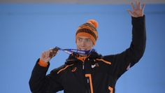 Jorrit Bergsma The Netherlands' speed skater Jorrit Bergsma poses with his bronze medal in the men's 5000m at the Medal Ceremony on Day 2.