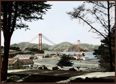 The view from the Presidio with the Golden Gate Bridge being built.