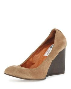 Velvet Suede Ballerina Wedge Pump, Camel by Lanvin - could they actually be comfortable? Classic.