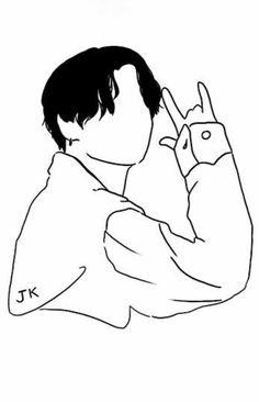 Outline Art, Outline Drawings, Art Drawings Sketches Simple, Bts Tattoos, Kpop Drawings, Jungkook Fanart, Embroidery Art, Bts Wallpaper, Illustration