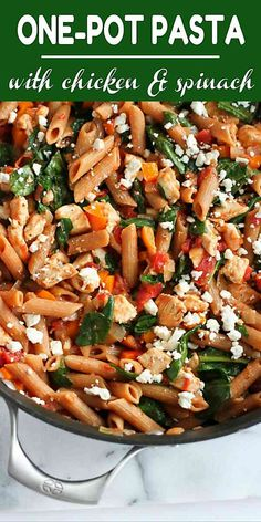 One-pot pasta is the way to go on busy weeknights. Filled with chicken and spina… One-pot pasta is the way to go on busy weeknights. Filled with chicken and spinach, this healthy dinner is always popular! 271 calories and 6 Weight Watchers Freestyle SP Wheat Pasta Recipes Healthy, Chicken Spinach Recipes, Healthy Chicken Pasta, Healthy Pastas, Spinach Stuffed Chicken, Healthy Dinner Recipes, Recipe Chicken, Veggie Pasta, Spinach Pasta