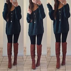 Take a look at 35 casual winter outfits with leggings you have to try in the photos below and get ideas for your own cold weather outfits! Leggings is the magic answer when it comes to fall & winter outfits,… Continue Reading → Fall Winter Outfits, Autumn Winter Fashion, Winter Clothes, Cute Outfits For Fall, Outfits With Boots, Tall Boots Outfit, Casual Winter, College Outfit For Fall, Winter Wear