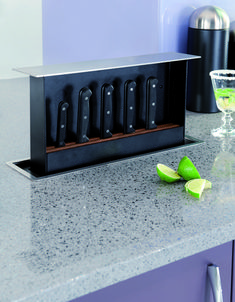 This high tech kitchen feature lets you hide knives in a stylish setting. #homedecor #gadget
