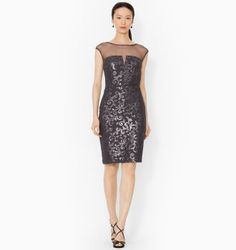 Ralph Lauren Sequined-Lace Boatneck Dress