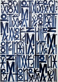 Retna navy blue and white graffiti painting