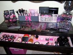 Sparklyblonde1 has a very nice vanity set up!  I love it!! She speaks very clear and straight to the point and tells you where you can purchase whats in her video!! Her ideas are very affordable and stylish! This vanity table is called the Malm Dressing Table and and can be purchased at http://www.ikea.com/us/en/catalog/products/10203610/ for $149.00.  It only comes in white at present.