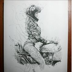The Superb Motorcycle Sketches Of Hafidz Musa - Rusty Knuckles - Motors and Music for True Grit Characters - Rock N' Roll, Country, Metal, Punk Rock Motorcycle Art, Bike Art, Classic Motorcycle, Motorcycle Girls, Biker Chick, Biker Girl, Logo Moto, Art Moto, Drawing Sketches