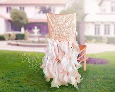 Bridal Chair Cover Rose Gold Wedding by ArcadiaWeddingDesign