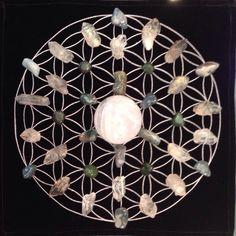 Mandala of the Week: Metamorphosis Quartz with Tibetan Quartz, Jade and moss agate on a flower of life pendulum chart -Go with the Flow!