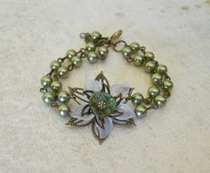 Free Shipping  Vintage Green bracelet by BeadsStory on Etsy, $25.00