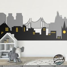 Batman City Skyline Superhero Wall Mural City Skyline Wall image 0