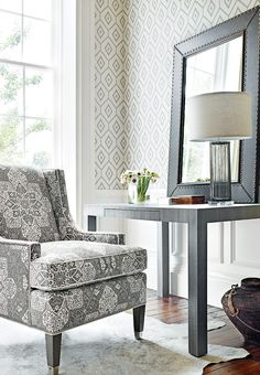 Thibaut Caravan Bari Ikat Wallpapers Are A Simple Yet Effective Wallcovering With An Ikat Trellis Design Which Is Available In  Modern Colours