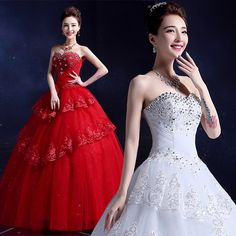 Wedding dress new 2017 newidal bracketing bride diamond was thin Slim tie red wedding dress Y10