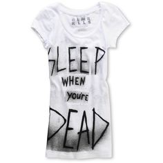 Glamour Kills Girls Sleep Time Scoop-Neck White Tee Shirt at Zumiez : PDP ($27) found on Polyvore