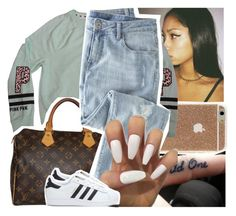 """i need a girl~trey songz"" by lamamig ❤ liked on Polyvore featuring Victoria's Secret, Louis Vuitton, Wrap and adidas"