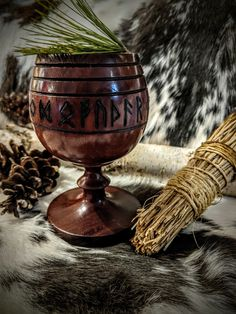 Sealed, hand turned walnut red-brown Blót/hlautbolli offering cup for your altar or ceremonies. The Elder Futhark runes are burned around the top. Can be used for liquid (up to or solid items. Norse Pagan, Old Norse, Pagan Witch, Norse Mythology, Viking Art, Viking Woman, Viking Aesthetic, Viking Wedding, Elder Futhark Runes