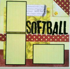 softball scrapbook page layouts | Softball 12x12 premade scrapbook layout page by ... | scrapbooking