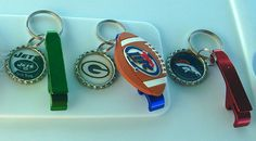 NFL Keychains with beads or bottle opener.  https://www.etsy.com/shop/KanDiArts