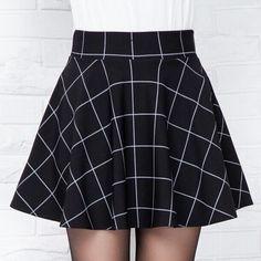 "Black High Waist Grid A-Line Skirt SE9826 Coupon code ""cutekawaii"" for 10% off"