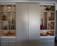 Elegant Kitchen and Pantry Design for Intricate House Architecture: Astonishing Modern Gilligan Residence Kitchen Glass Pantry Door