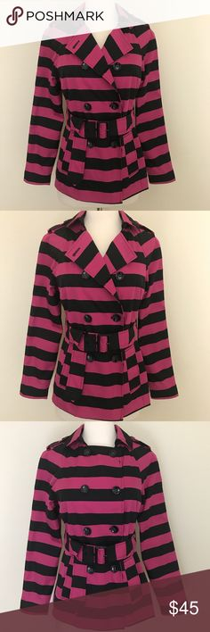 Cynthia Rowley Double Breast Striped Jacket Ah so precious! This Cynthia Rowley is adorable with its perky pink and black stripes, Double Breast, 2 front pockets and fully lined. Perfect/never worn condition. Belt is still attached like when I purchased it! So cute Cynthia Rowley Jackets & Coats Blazers