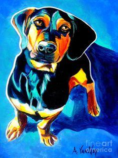 Dachshund - Tyson Painting Alicia VanNoy Call - ACRYLIC