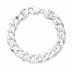 b2ddc461c Solid 925 Sterling Silver 12.30mm Beveled Curb Link Cuban Bracelet - with  Secure Lobster Lock Clasp 8