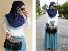 lovely color combo with earrings Modest Outfits Muslim, Modest Fashion Hijab, Street Hijab Fashion, Modesty Fashion, Fashion Muslimah, Muslim Dress, Hijab Fashionista, Muslim Women Fashion, Islamic Fashion