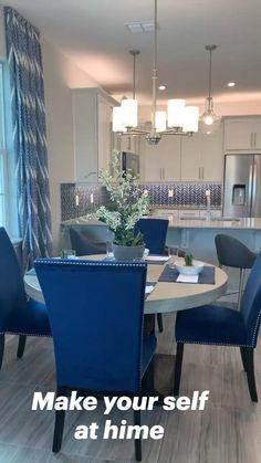 Dining Room Blue, Blue Living Room Decor, Blue Home Decor, Home Decor Kitchen, Home Living Room, Interior Design Living Room, Living Room Designs, Living Room And Kitchen Together, Living Dining Combo