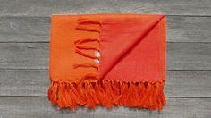 "TRIBEWOOD's LINEN BEACH BLANKET ""LINUM"" Orange/Red"