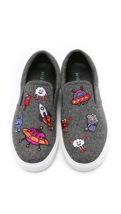 Mira Mikati Allover Icons Patched Slip On Sneakers