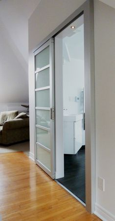 The Sliding Door Company is an ideal place for interior sliding doors & room dividers or glass closet doors. Visit our website to update your home and office! Glass Bathroom Door, Sliding Bathroom Doors, Aluminium Sliding Doors, Glass Closet Doors, Modern Sliding Doors, Bathroom Art, Sliding Glass Doors, Aluminium Glass Door, Sliding Door Design