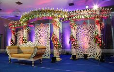 Decors - Wedding Stage Decorators In South India, We… Indian Wedding Stage, Wedding Stage Design, India Wedding, Wedding Designs, Ethnic Wedding, Wedding Ideas, Wedding Planning, Trendy Wedding, Reception Stage Decor