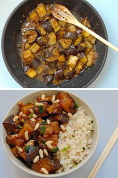 Chinese-style eggplants with rice - Tasty details healthy recipe - Chinese style eggplants with rice - Chicken Salad Recipes, Veggie Recipes, Asian Recipes, Dog Food Recipes, Cooking Recipes, Best Vegetarian Recipes, Healthy Recipes, Desi Food, Exotic Food