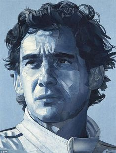 Portrait of Ayrton Senna by British artist Ian Berry was made of pieces of denim jeans...