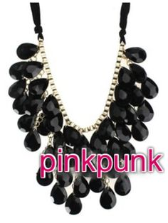 Black Crystal Cocktail Necklace~ by Shop Pink Punk~~ *o*
