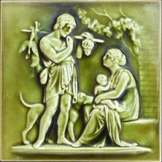 Brooklyn's International Tile & Trim was in business from 1882-1888, therefore, its tiles are comparatively rare. This tile is carved in fine relief and depicts the symbolic theme of the bounty of...