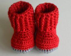 Botitas de bebé de ganchillo rojo botines de bebé / zapatos de