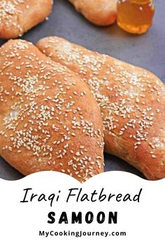 Samoon is a popular flatbread from Iraq that has a beautiful crust. Made with whole grain and topped with sesame seeds, this is a great bread to be served with soup.