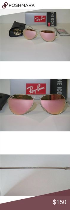 100% Authentic Pink Aviator Ray Bans 100% Authentic Pink Aviator Ray Bans (In Stock) Condition: New Frame Color: Silver  Included: Sunglasses,case,cleaning cloth and booklet. Ray-Ban Accessories Sunglasses