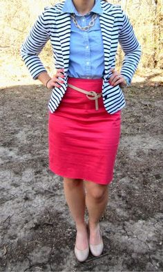 work outfit : striped blazer + blue oxford + coral skirt