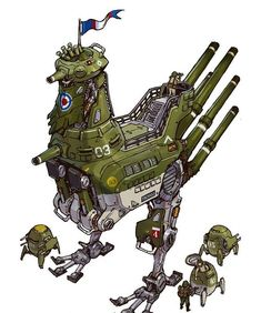 """Tagged with art, mecha monday, but on a tuesday; Shared by Emerson Tungs """"Tankhead"""" (and some jetheads too) Character Concept, Character Art, Character Design, Zoids, Robot Animal, Arte Cyberpunk, 8bit Art, Robot Concept Art, Modelos 3d"""