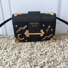 4521847453 Prada Cahier Bag Black with Star and Moon Appliques