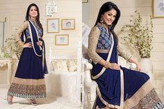 Akshara Navy Blue Georgette Anarkali Suit 42752