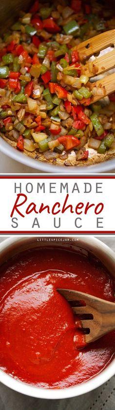Ranchero Sauce - A simple recipe to make homemade ranchero sauce! This sauce is amazing on huevos rancheros, to dip your breakfast tacos in, or to use as enchilada sauce in casseroles! #rancherosauce #huevosrancheros #tacosauce   Littlespicejar.com