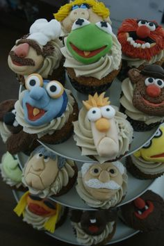 Muppet Cupcakes by Daniel Isaacson. The tops are handmade from fondont.