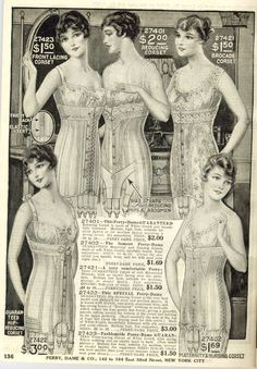 1916 catalogue, note the change of emphasis of the tiny-waisted corsets  (1900-1912) to this much less fitted corseting. Here you can see how this will develop into the more modern girdle.