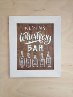 Hand Painted Whiskey Or Bourbon Bar Sign On Walnut 8x10 Framed In White Frame