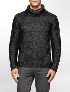 Calvin Klein men's premium metallic mock neck sweater | Men's Fashion & Style | Shop Menswear, Clothes, Apparel & Accessories at designerclothingfans.com | Men's Suits, Sport Coats, Sweaters, Cardigans, Shirts, Leather Jackets, Boots and more...