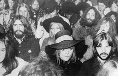 The Beatles and wives at an Isle of Wight Festival August 31,1969.